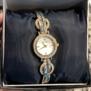Bulova crystal watch 2 toned gold & silver